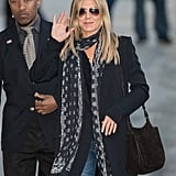 In December 2016, Jen made an appearance at Jimmy Kimmel Live. She showed up for the taping in denim and accessorized with free-spirited, boho accessories including a lightweight scarf and this suede shoulder bag.