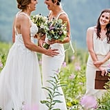 Amy and Meg's breathtaking, semitraditional Jewish ceremony took place in a luscious field on a mountaintop at Glacier National Park in Montana. See the wedding here!