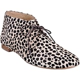 After a long week of being in structured, heeled, and totally unforgiving heels, I like to slip my feet into shoes with much more space and movement. These Barneys Chukka Boots ($395) are as close to the feeling of a sneaker as it gets. Soft, roomy, and with such a cool leopard print, this pony hair pair is both fancy and comfortable.  — MC