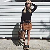 A Black Top, Tan Suede Skirt, Platforms, and a Statement Bag
