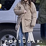 The soon-to-be mom was all smiles when Justin made a surprise visit to see her on the set of her film The Devil and the Deep Blue Sea. She bundled up for the cold in New Orleans by topping her costume with an oversize down coat.