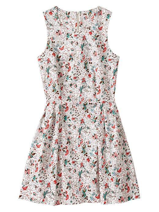 Gap Floral Sateen Sleeveless Dress