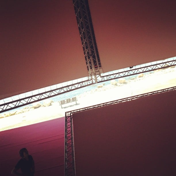 Kanye West's Cruel Summer movie played inside a pyramid-shaped tent with seven screens inside.