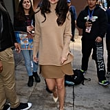 Fall staple: A camel colored Tory Burch turtleneck. Selena wore it with: A Tory Burch skirt in a contrast shade and neutral Valentino pumps.