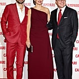 Penelope Cruz changed into a burgundy gown.