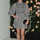 In head-to-toe Chanel, we love Hailee's metallic-tipped boots.