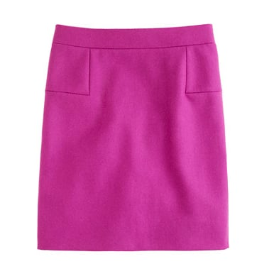 We dig the mod feel of this J.Crew fuchsia wool miniskirt ($50, originally $98) and imagine it with a black turtleneck, tights, and tall black boots.