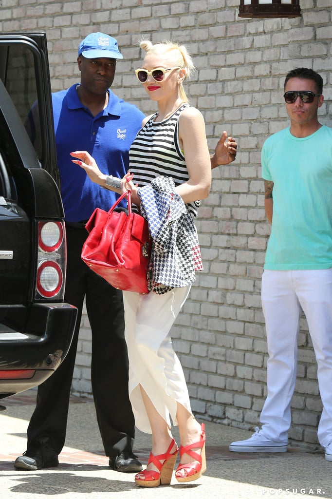 Gwen Stefani wore a striped tank top.