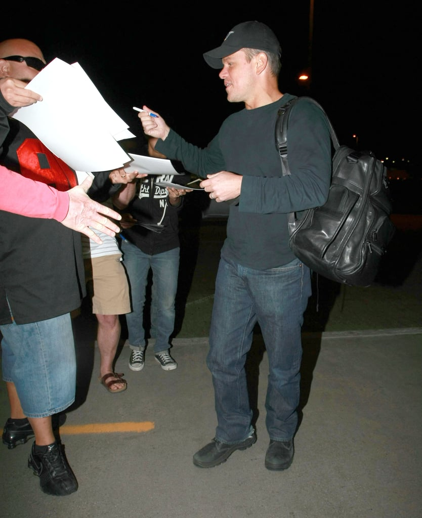 Matt Damon greeted a group of fans outside of LAX on Friday. He visited the 0677afd23081