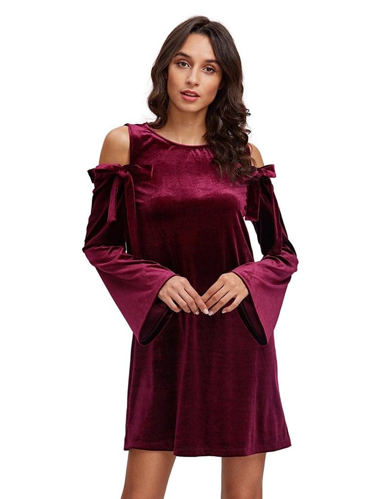 Oeuvre Cold-Shoulder Velvet Dress
