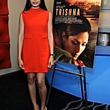 Freida Pinto donned a red retro-inspired Raoul dress from the brand's Pre-Fall collection at a special screening of Trishna in LA. To complement the bold color on top, she wore nude buckle-accented Roger Vivier pumps.