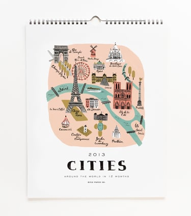 The Rifle Paper Co. 2013 Cities Calendar ($26) features hand-painted maps of beautiful cities around the world — a fun option for the design-savvy traveler.