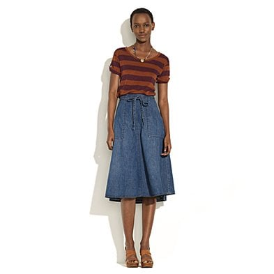 Such a ladylike length and femme shape; a great counter to a plaid button-down.   Madewell Denim Wrap Skirt ($95)