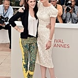 Kristen Stewart and Kirsten Dunst hugged at the On the Road photocall at the Cannes Film Festival.