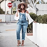 Overalls, an Off-the-Shoulder Top, Block Heels, and a Wide-Brim Hat