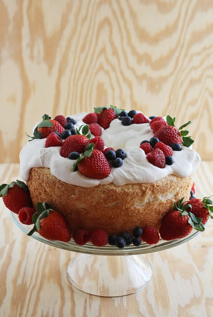 Angel Food Cake With Whipped Cream and Berries