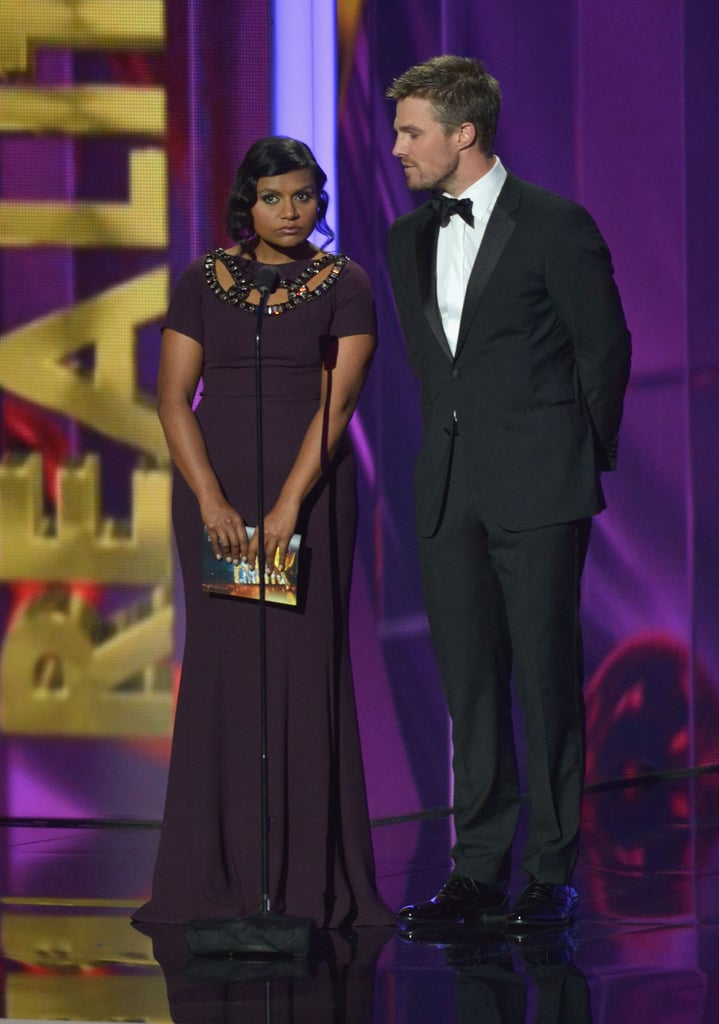 "Mindy Kaling presented with Arrow's Stephen Amell — and called him ""Arrow."""
