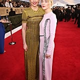 Greta and Saoirse matched in floor-length gowns at the Screen Actors Guild Awards in January.