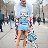 How do you rock your skirt in the Winter? By covering up with a long, thick furry coat.