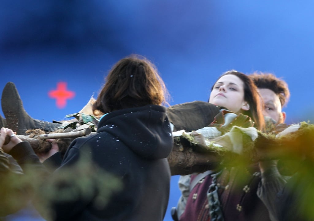 Kristen Stewart on the set of Snow White and the Huntsman.