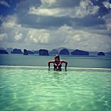 Lara Bingle wore a black bikini in an infinity pool. Source: Instagram user mslbingle