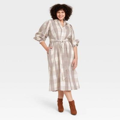 A New Day Long Sleeve High Cuff Shirtdress