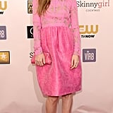 Leslie Mann wore a pink dress on the red carpet.