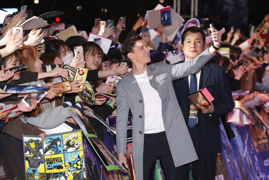 When he posed with a loving legion of fans . . .