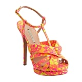 The yellow, pink and orange on these t-bar heels are reminiscent of a fruit salad sweet. Yum.  Nicholas Kirkwood Lace Multi Strap Sandal (£622.11)