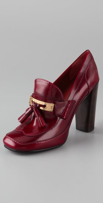 Rich red color, gold detailing, and tassels provide a sophisticated accent for your denim and blazer.   Marc by Marc Jacobs Metal Loafer Pump ($390)