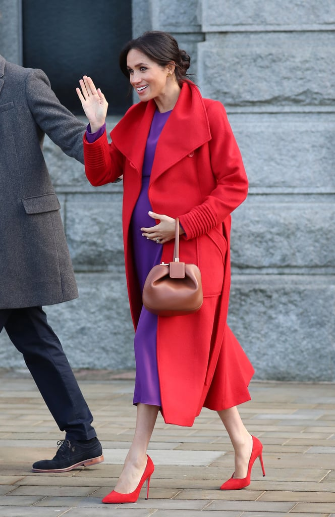41eb70a0113 Meghan Markle Red and Purple Outfit Birkenhead January 2018 ...