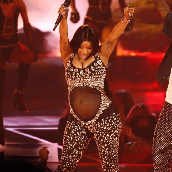 Cardi B Debuts Baby Bump Wearing a Sparkling Bodysuit