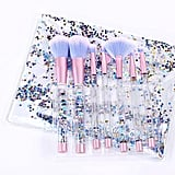 Liquid Glitter Cosmetic Brush Set and Pouch