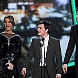 That wonderful moment when our favorite trio from The Hunger Games took the stage in 2013.