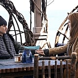Shailene Woodley as Jane Chapman wearing a beanie and puffer and Nicole Kidman as Celeste Wright in a camel coat.
