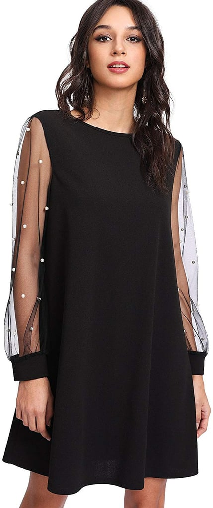 DIDK Tunic Dress with Mesh Bishop Sleeves