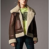 Burberry Lambskin Panelled Shearling Aviator Jacket