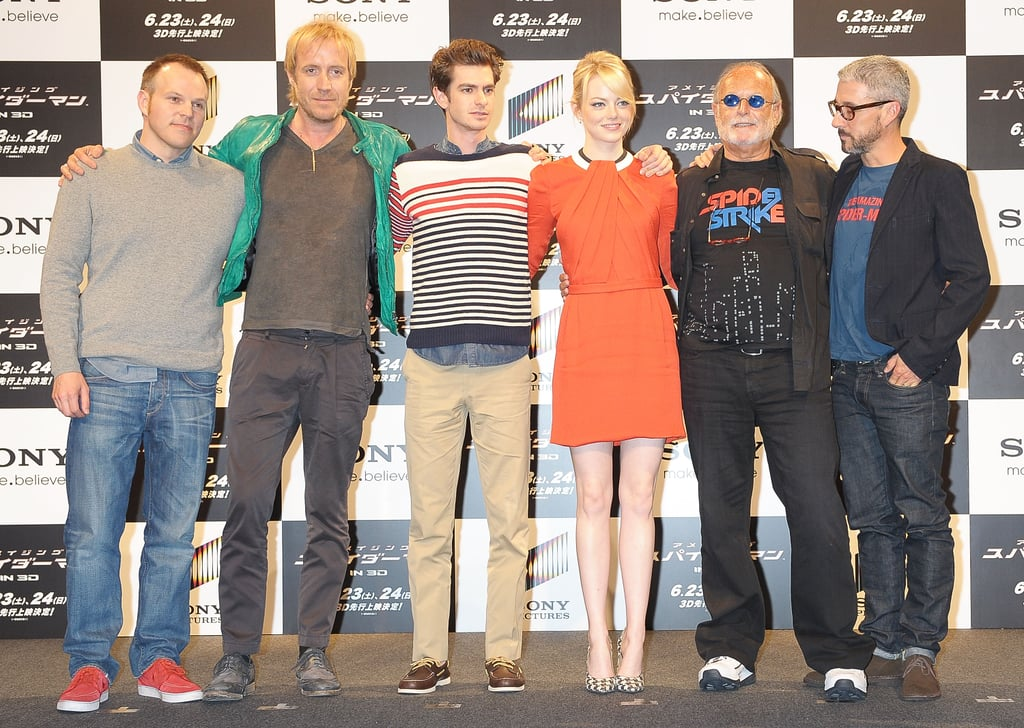 Marc Webb, Rhys Ifans, Andrew Garfield, Emma Stone, Avi Arad, and Matt Tolmach posed together at the press conference for The Amazing Spider-Man in Japan.
