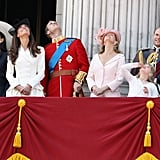 Pictured: Lady Frederick Windsor, Kate Middleton, Prince William, Sophie, Countess of Wessex, Lady Louise Windsor, and Prince Edward.