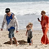 Nicole Richie and Joel Madden spent some quality time with their kids Harlow and Sparrow on the beach in Malibu.