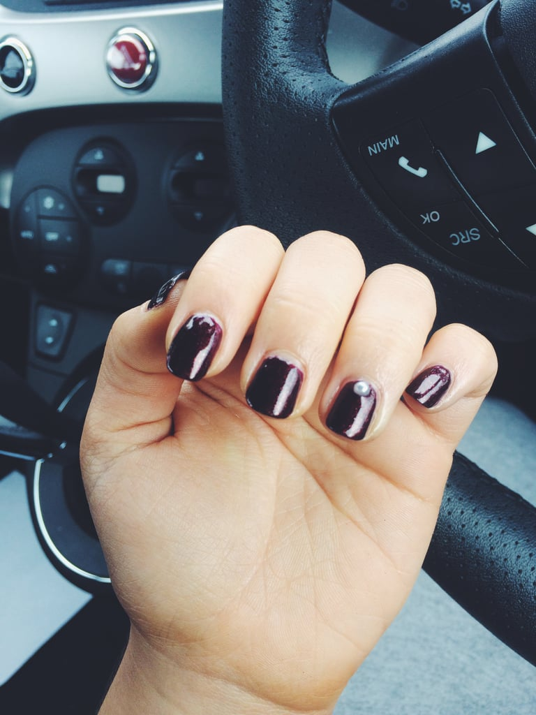 Dark purple nails with a pearl stud by Silver Lining Nails | Ariel ...