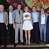 Donald Sutherland, director Francis Lawrence, Liam, Jennifer, Sam, Josh, and Julianne all gathered for a group photo.