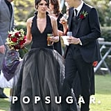 Shenae Grimes wore a black Vera Wang wedding gown for her wedding to Josh Beech outside of London in May 2013.