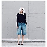 Let the Culottes Stand Out With an Understated Top Tucked In With a Belt