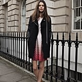 A moto-style coat toughened up a little day dress and ankle boots.