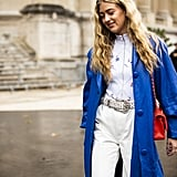 Go for a little red, white, and blue well past July 4, opting for a royal blue coat and bright red bag for the colder Winter months.