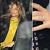 As of February, Sienna Miller began wearing a unique ring from fiancé Tom Sturridge.
