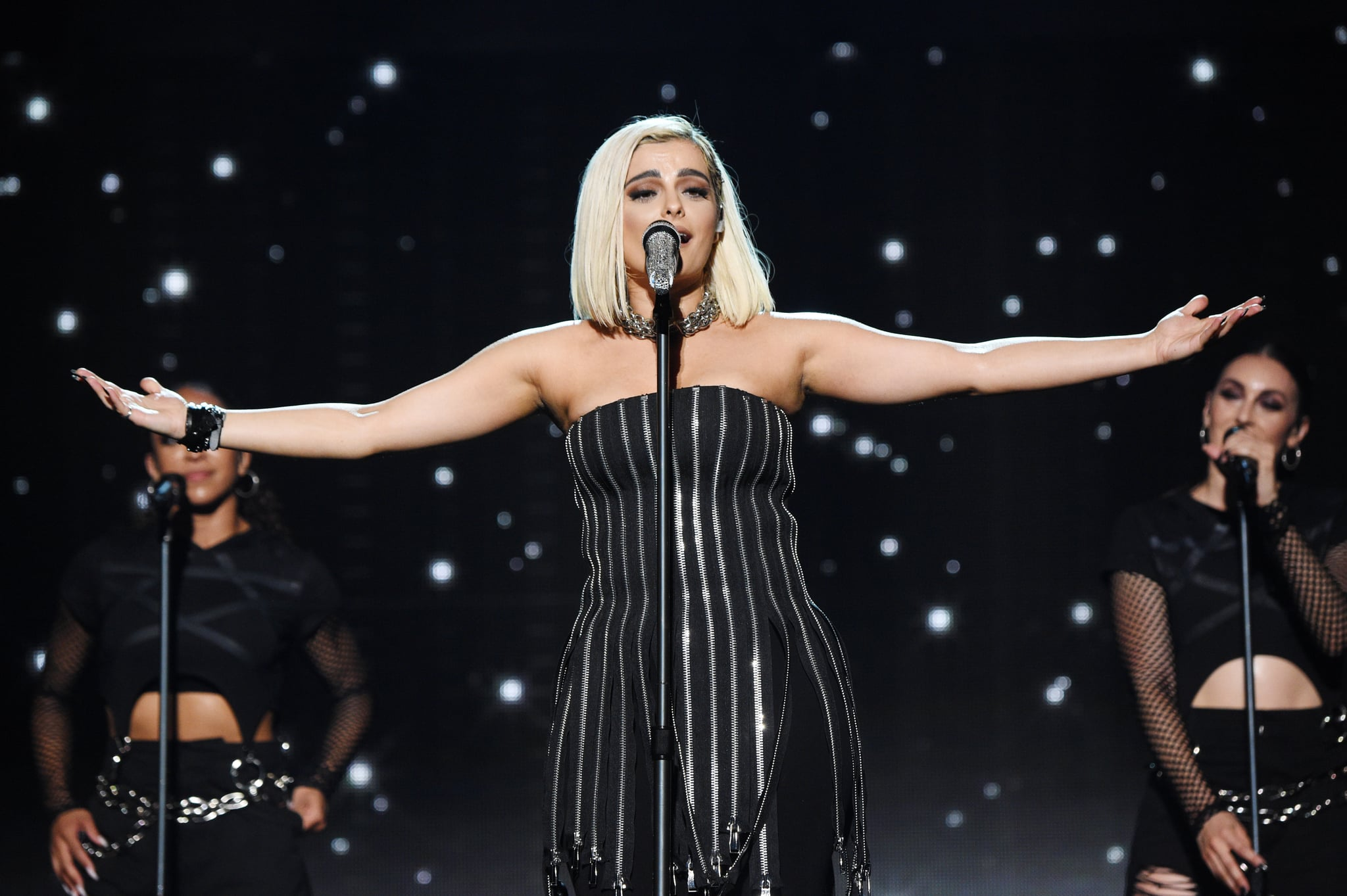 NEW YORK, NEW YORK - AUGUST 30: Bebe Rexha performs onstage during Jonas Brothers: