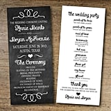 Chalkboard Wedding Program