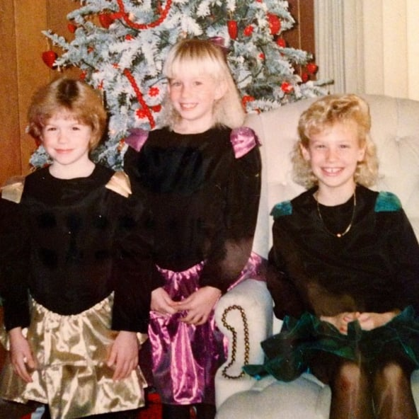 """""""#tbt to an 80's Christmas where we all rocked our Mom's designs and epic hair styling. #Idontthinkmyblacknylonsareageappropriate"""""""